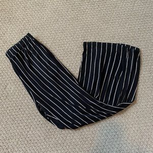 Black striped stretchy pants